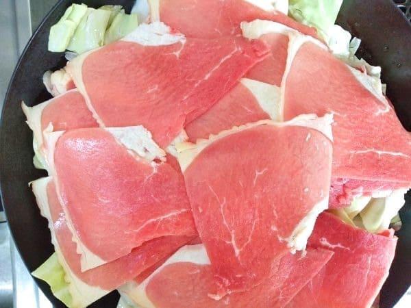牛しゃぶと野菜のフライパン蒸し工程2